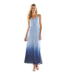 LC Lauren Conrad Blue Dip Dye Maxi Dress